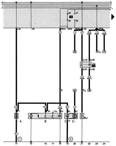 полная электросхема автомобиля audi 80: 2-литровый 4-цилиндровый двигатель (66 квт) audi 80
