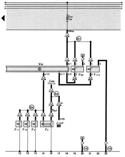 система замков с центральным управлением, освещение салона с задержкой отключения и подсветка косметических зеркал audi 80