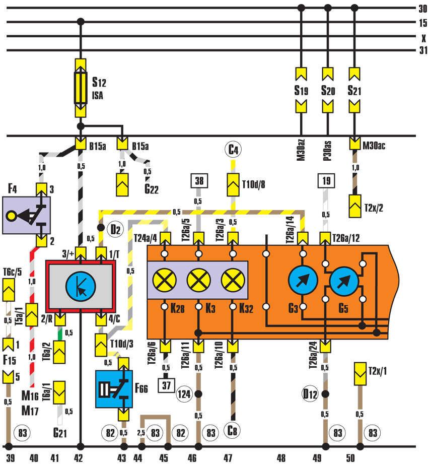 панель приборов, датчик температуры охлаждающей жидкости audi 100