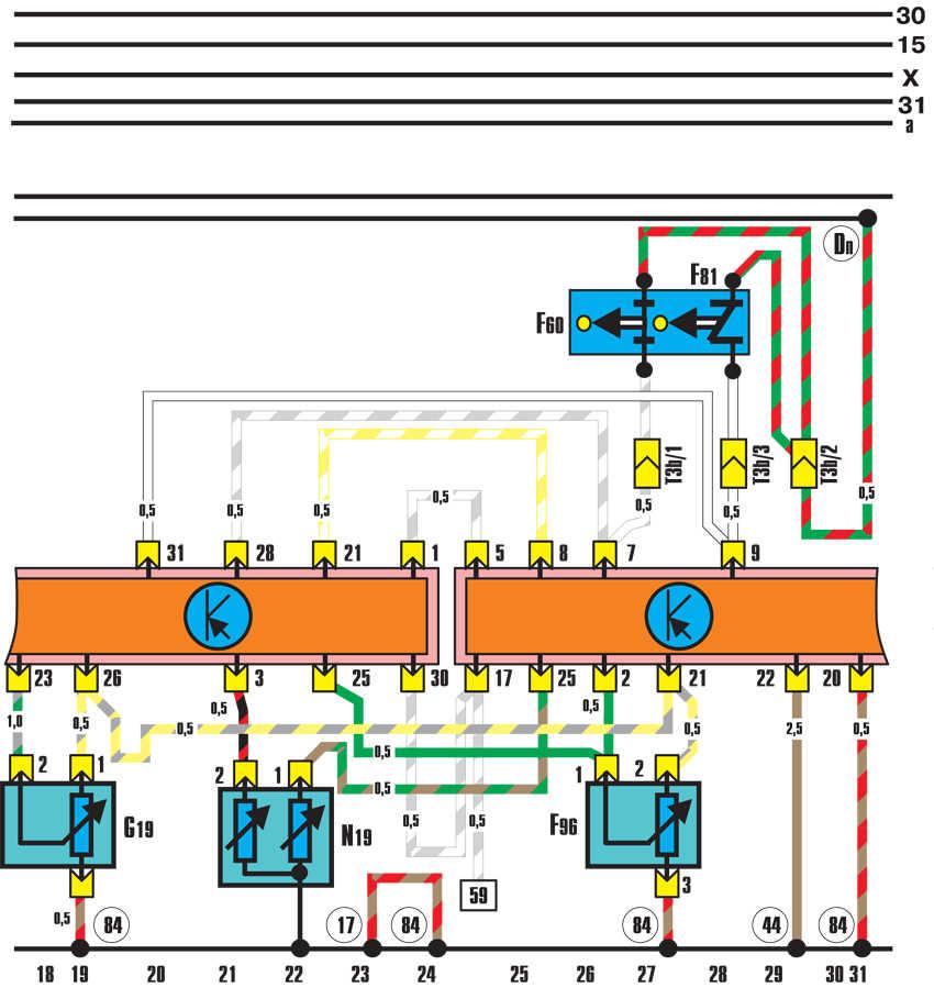 устройство впрыска ke iii-jetronic (двигатель мощностью 100 квт) audi 100