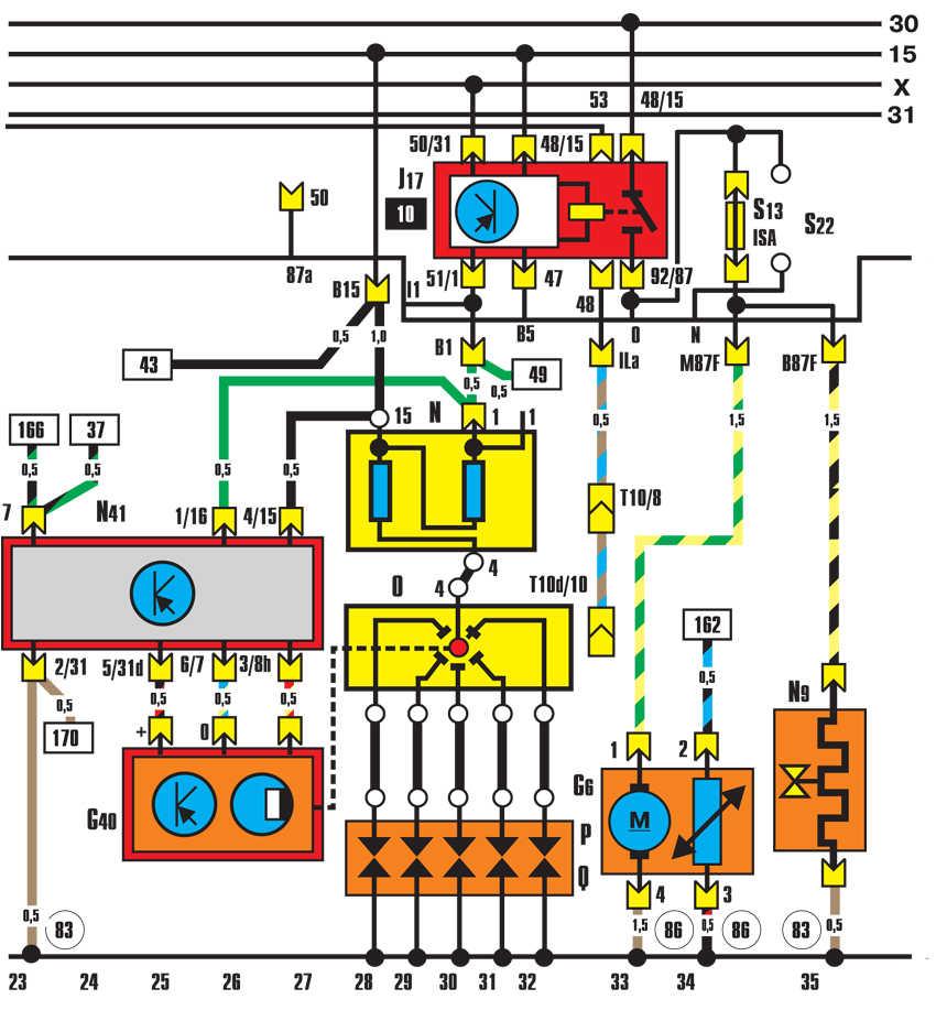 система зажигания, реле топливного насоса audi 100