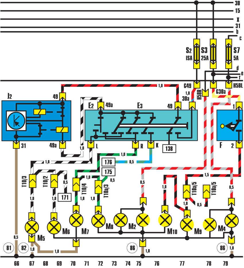 указатели поворотов, аварийная сигнализация, фонари стоп-сигнала audi 100