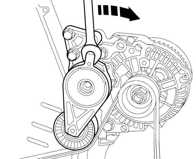 снятие и установка ребристого клинового ремня audi a3